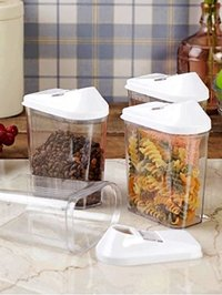1100 ml Easy Flow Plastic Kitchen Storage Jars & Container Set, Transparent Set of 12