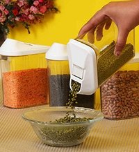 1100 ml Easy Flow Plastic Kitchen Storage Jars & Container Set, Transparent Set of 12