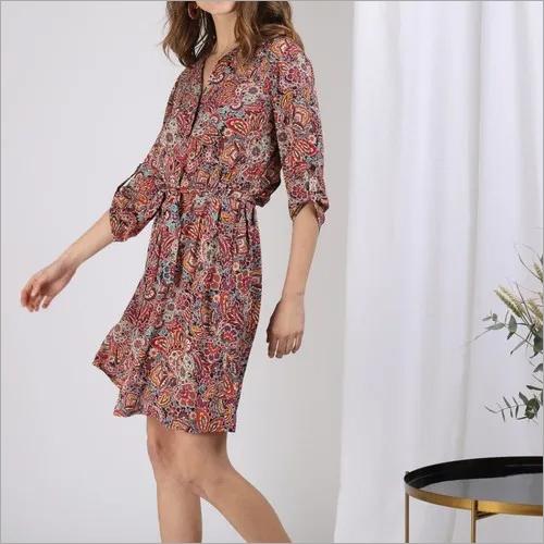 Mix Printed Shirt Dress