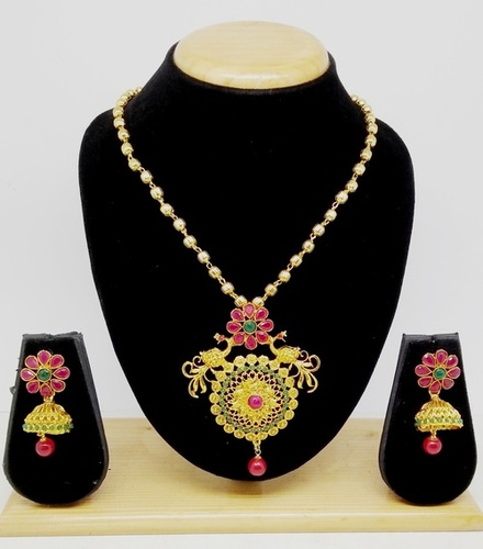 Attractive Simple Design Pendant Set(Green&pink)