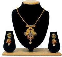 Latest New Design Temple jewellery pendant set(Red&Green)