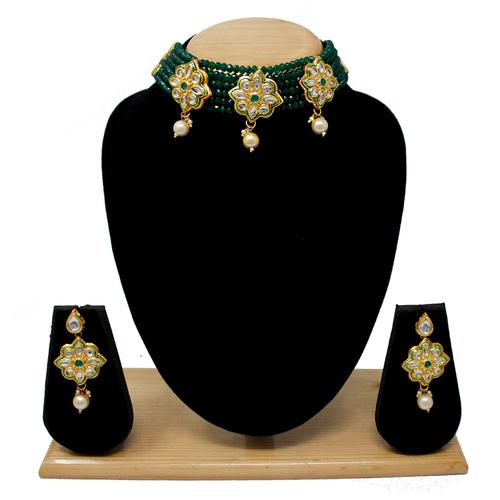 New Design Choker Necklace Set(Dark Green)
