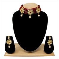 Simple Design Choker Necklace Set(Maroon)