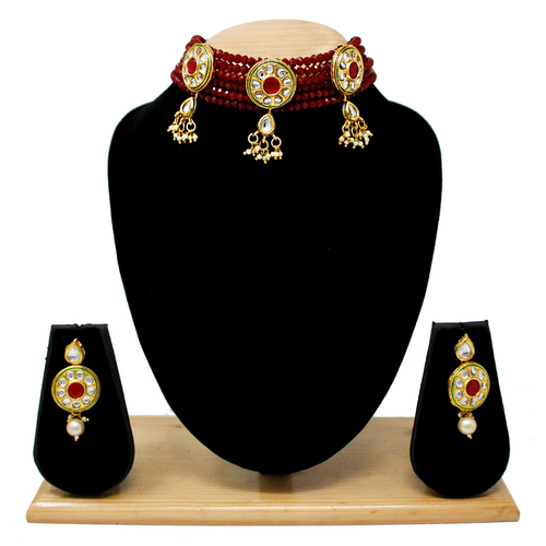 Fancy Design Choker Set( Maroon)