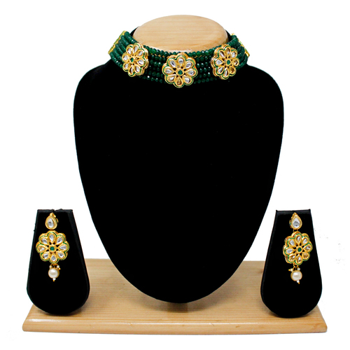 Simple Latest Design Choker Neckalce Set (Green)