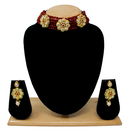Attractive Simple Design Choker Set(Maroon)