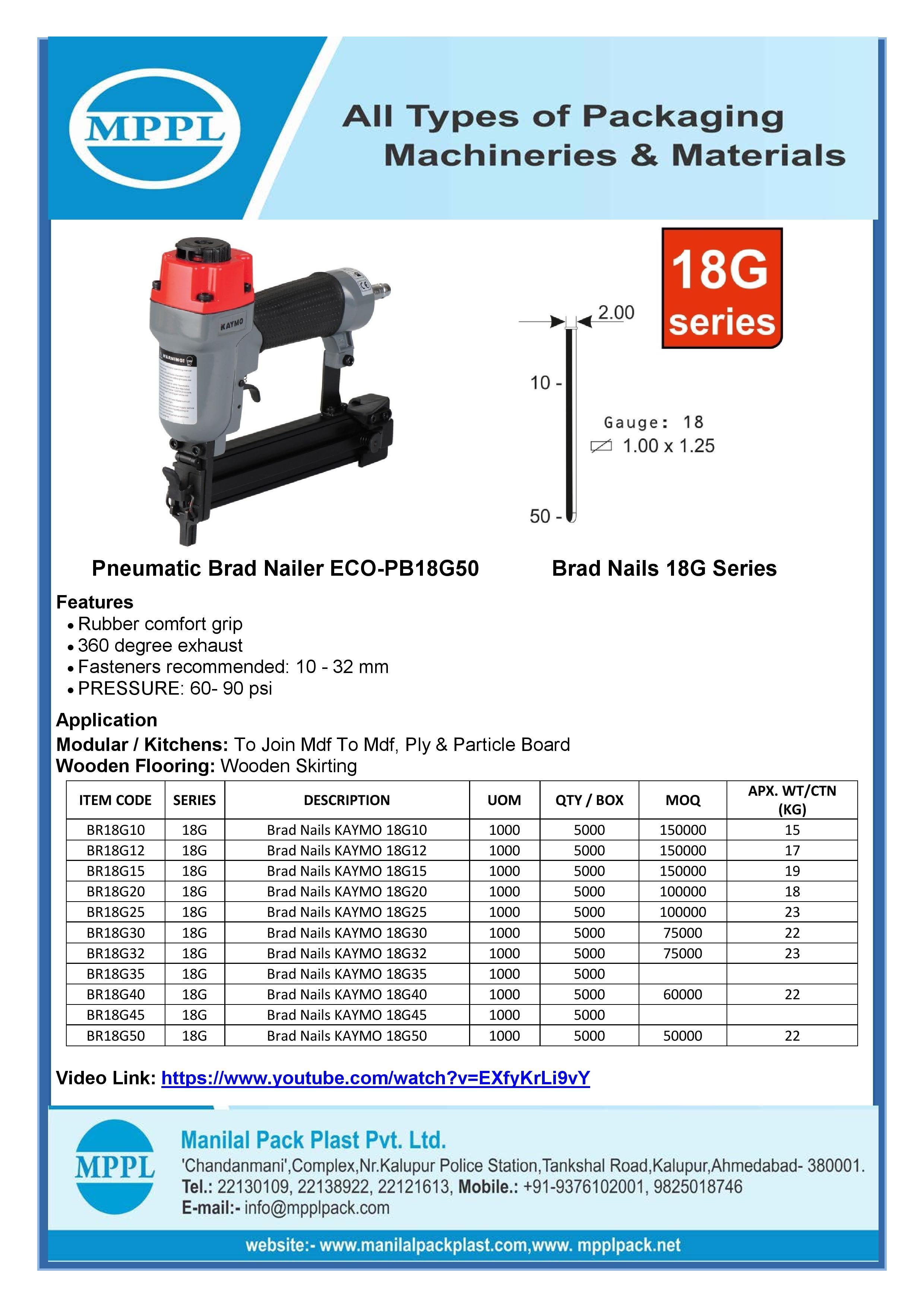 Pneumatic Brad Nailer ECO-PB18G50