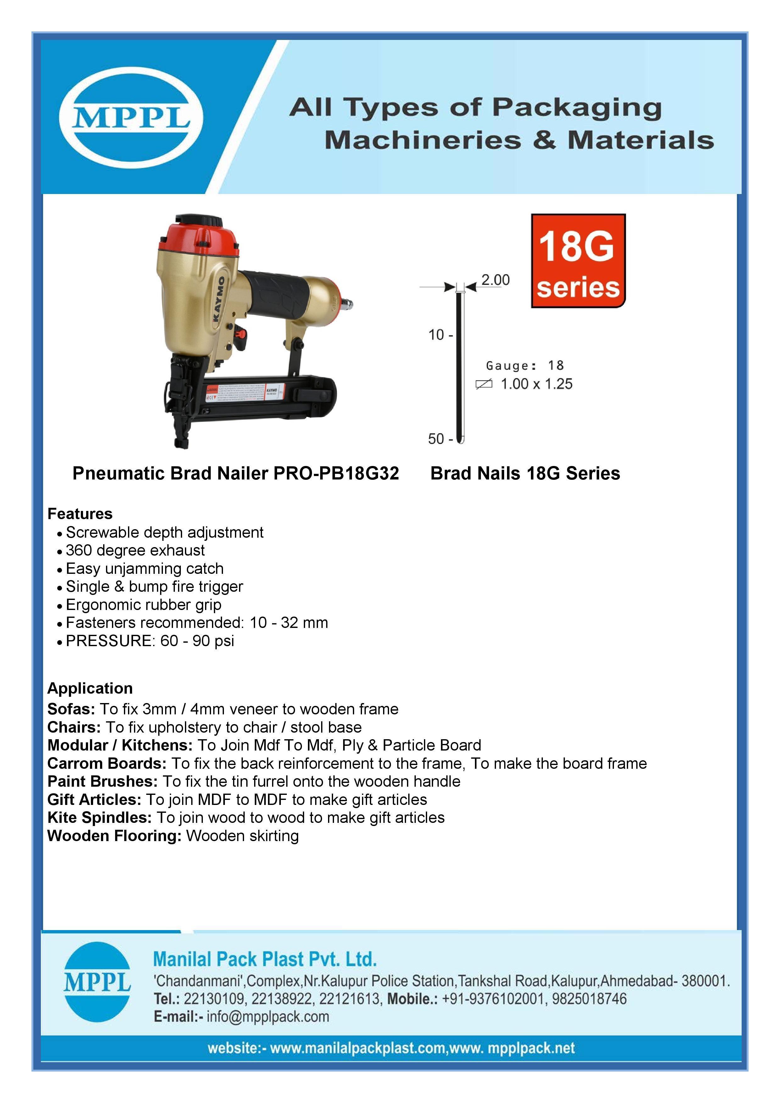 Pneumatic Brad Nailer PRO-PB18G32