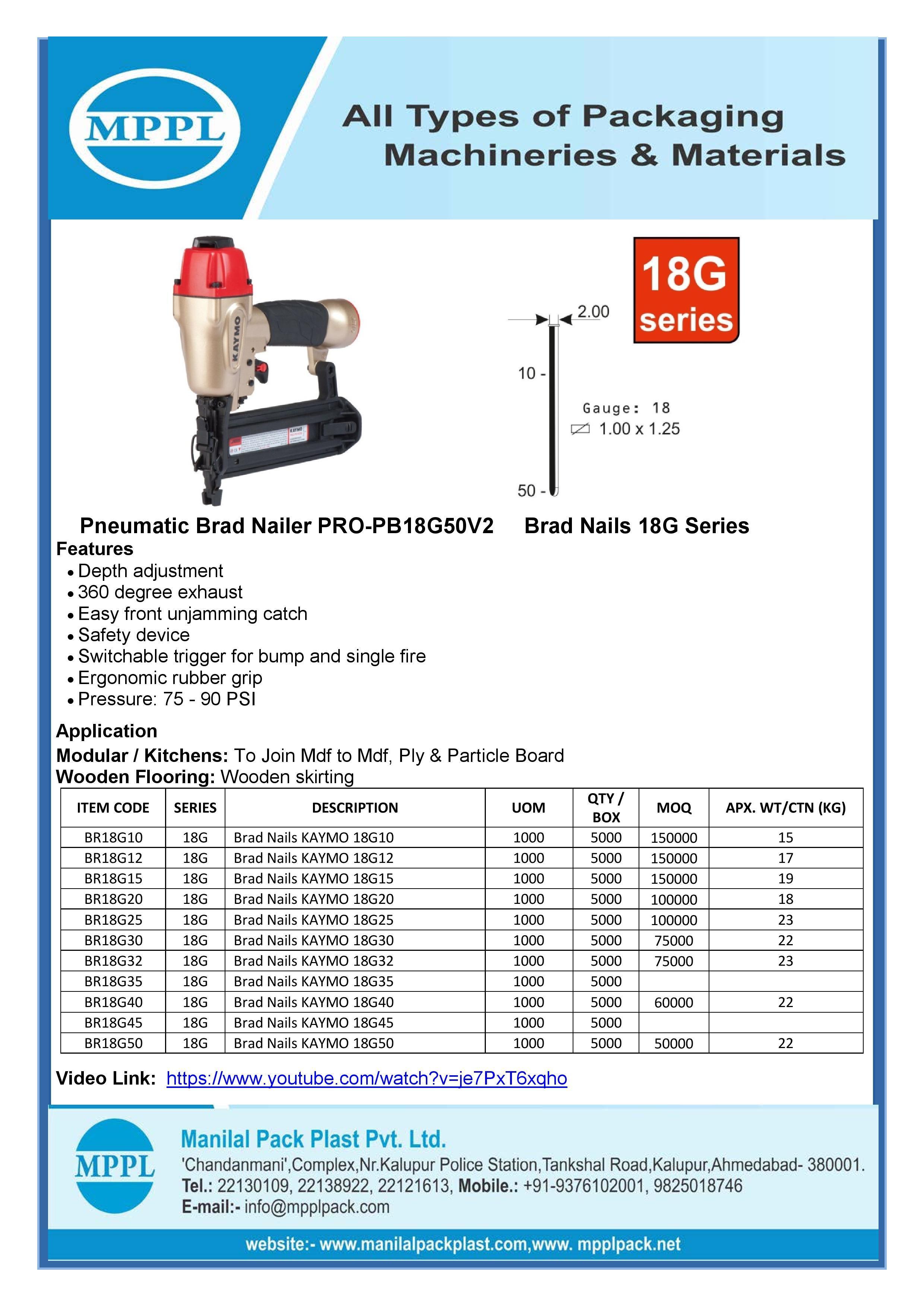 Pneumatic Brad Nailer PRO-PB18G50V2