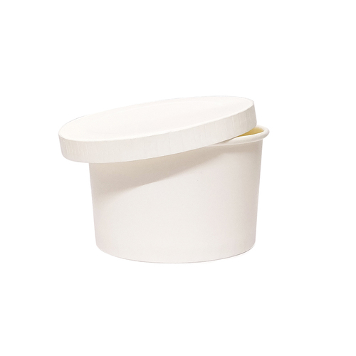 Primaxx Paper Container with Lid (White, 350 ML)