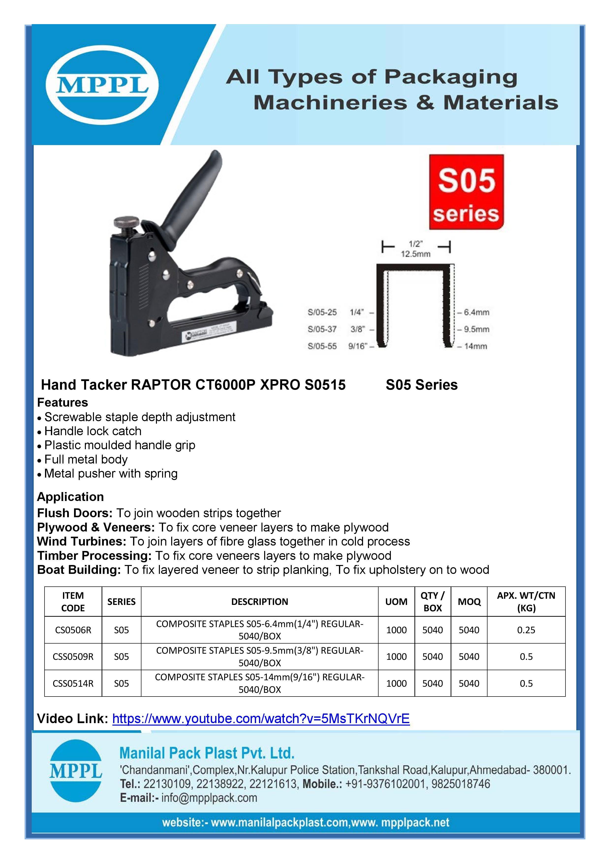 Hand Tacker RAPTOR CT6000P XPRO-HTS0515