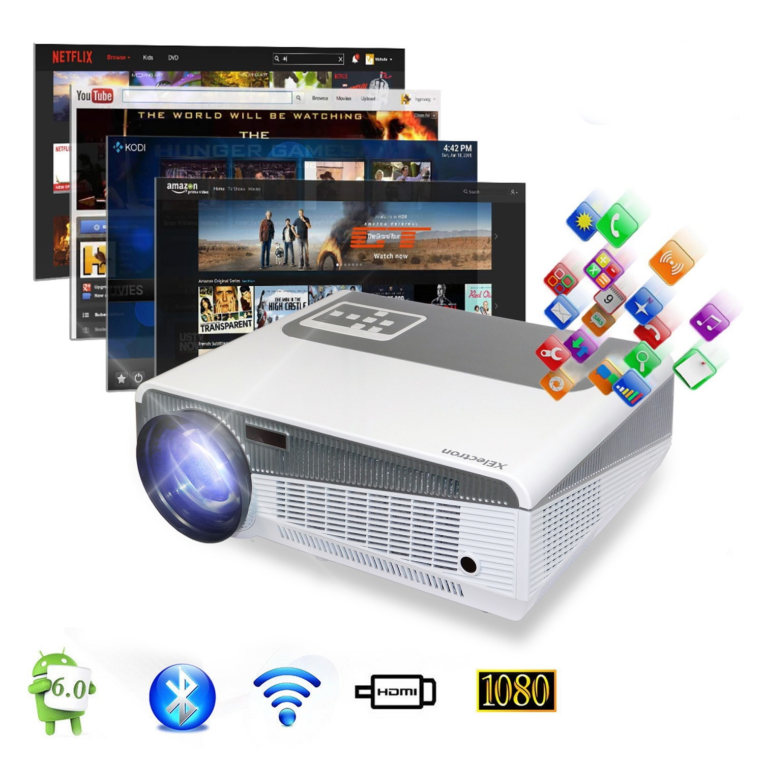 SM86+W Android Smart Wi-Fi HD LED Projector with 5000 Lumens 1080P, 4K Support