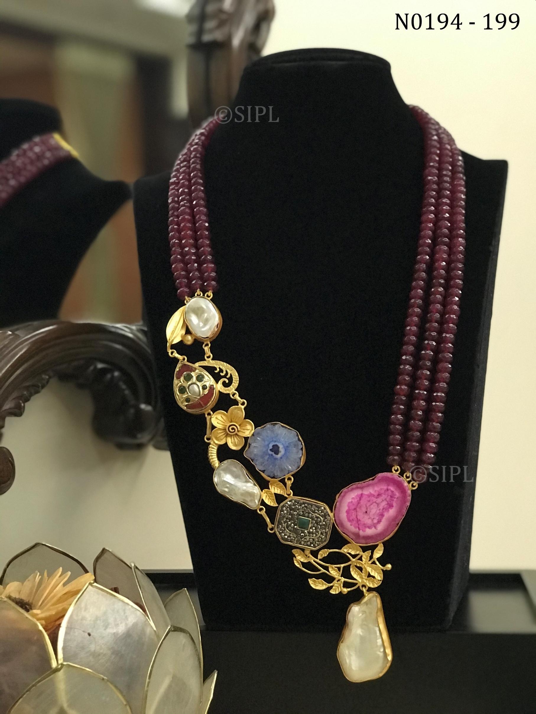 Contemporary Handmade Necklace in Natural Baroque