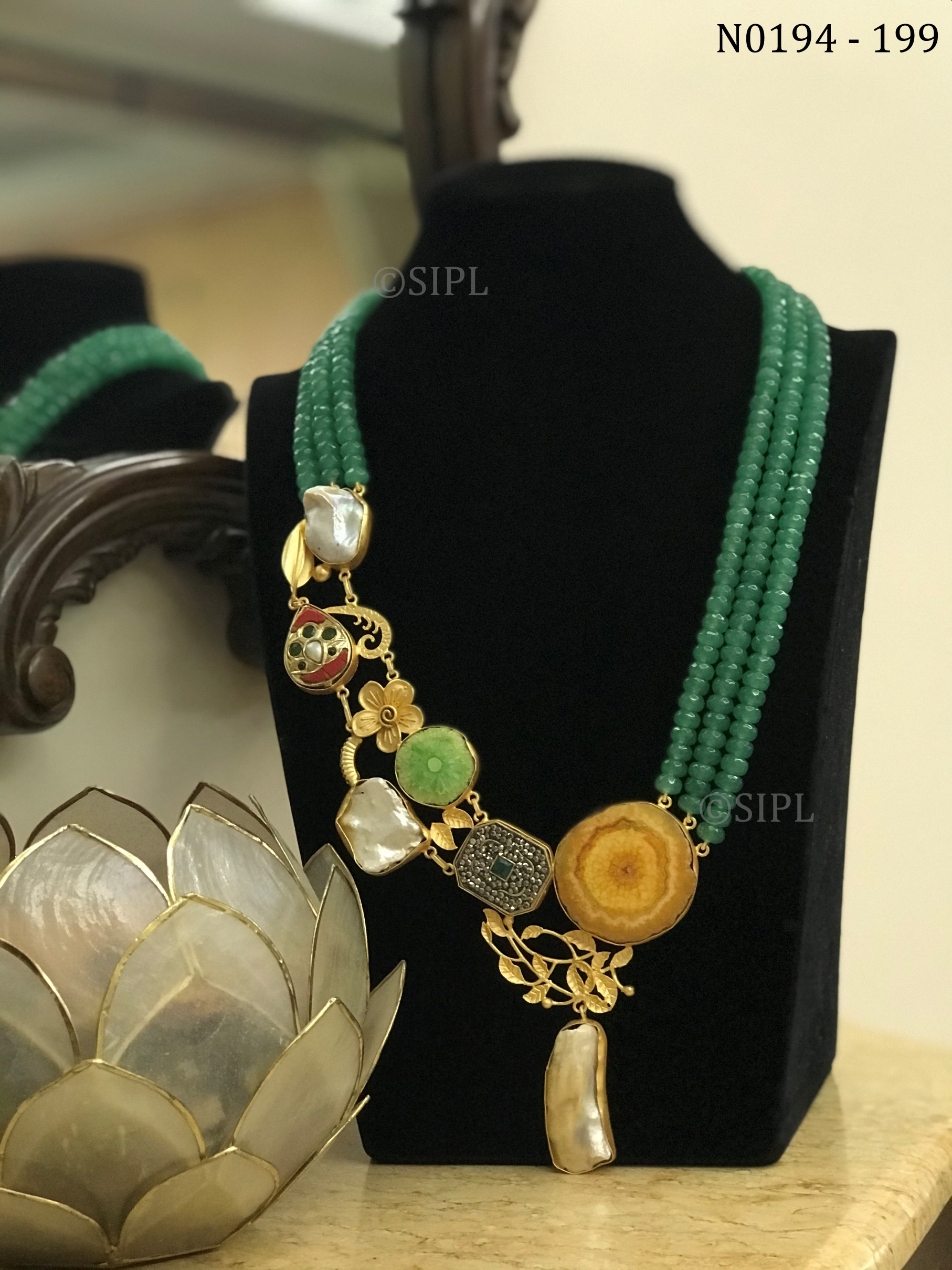 Contemporary Handmade Necklace in Natural Baroque