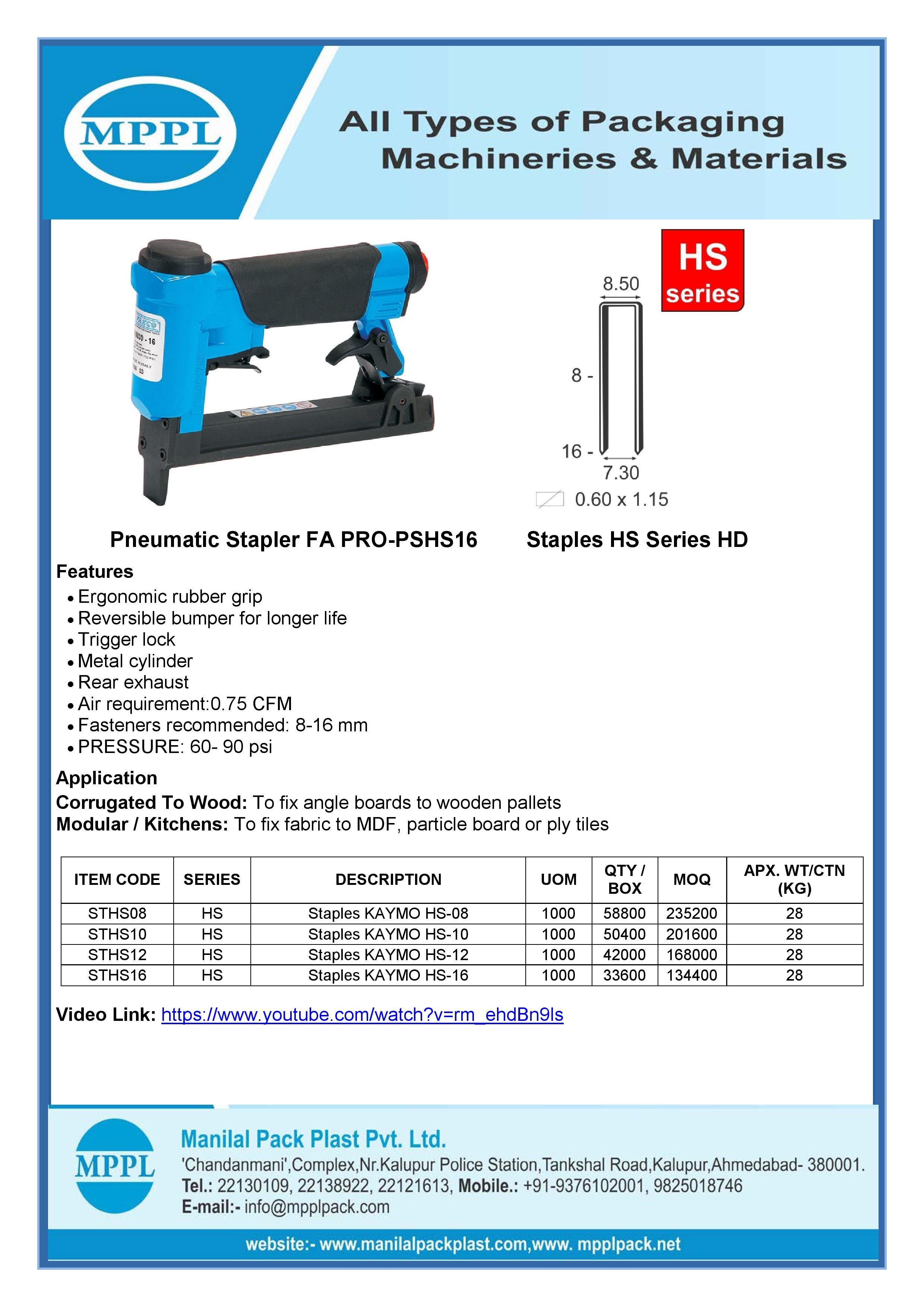 Pneumatic Stapler FA PRO-PSHS16