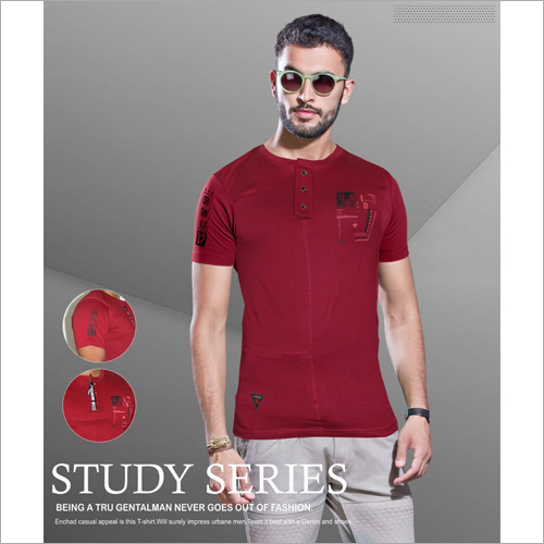 Mens Fancy Henley Neck T-Shirt