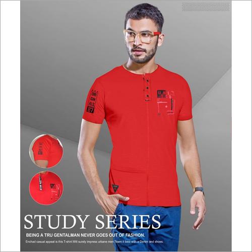 Mens Printed Henley Neck T-Shirt
