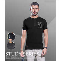 Mens Black Henley Neck T-Shirt