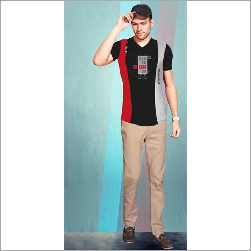 Mens V Neck Cotton T-Shirt