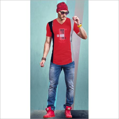 Mens Designer Print V Neck T-Shirt
