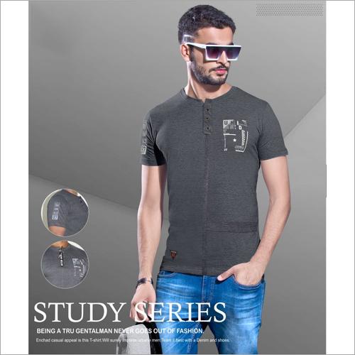 Mens Henley Neck Short Sleeve T-Shirt