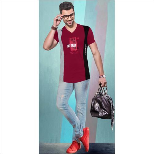 Mens Party Wear V Neck T-Shirt
