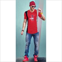 Mens Designer Print V Neck T-Shirt