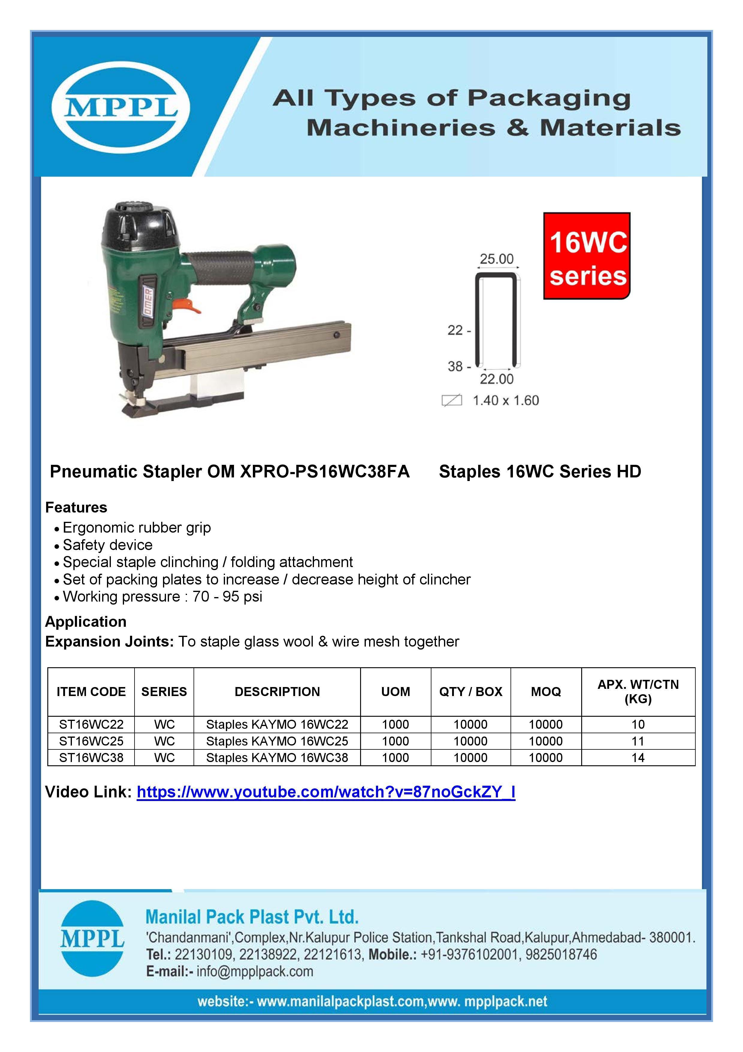 Pneumatic Stapler OM XPRO-PS16WC38FA