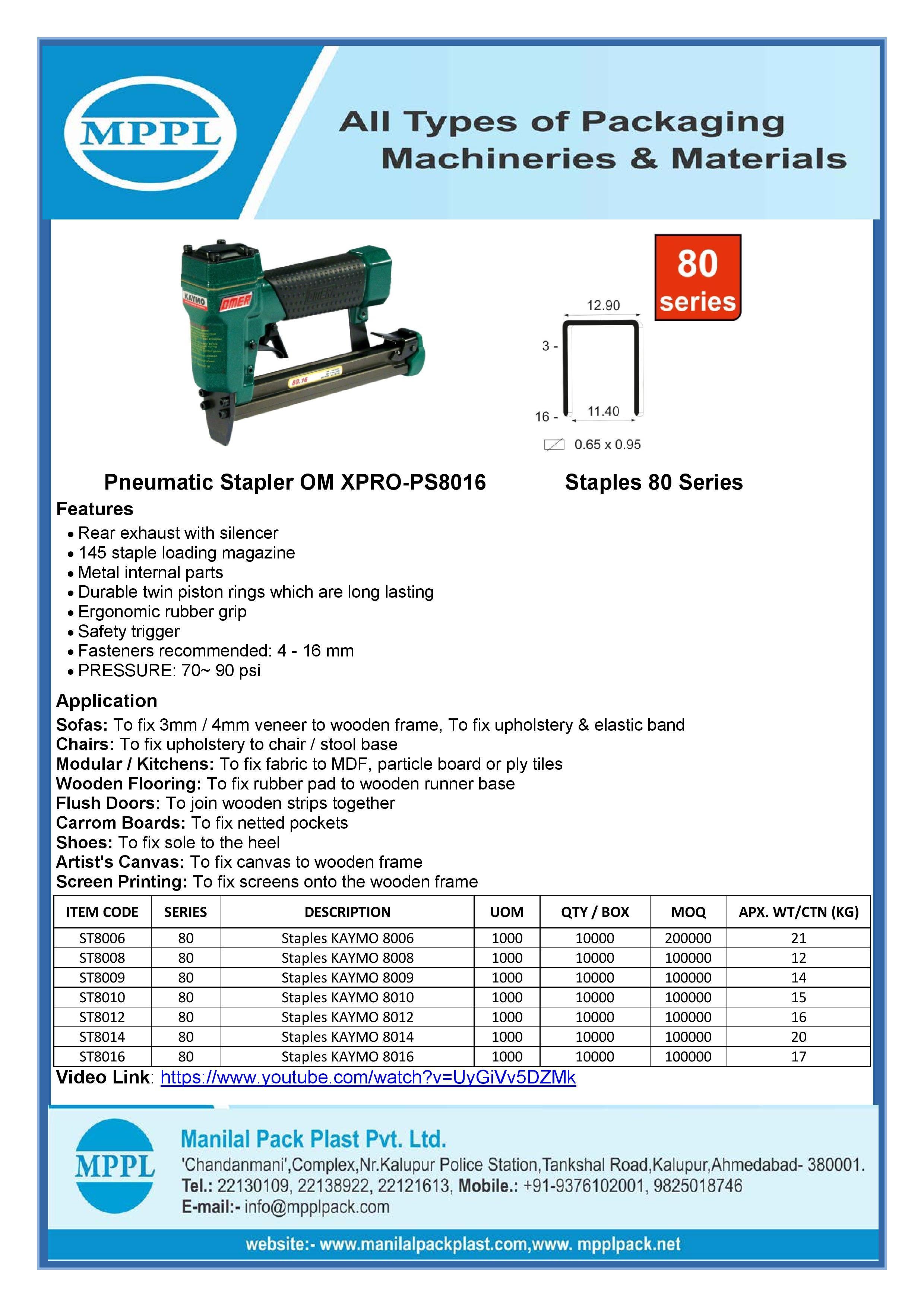 Pneumatic Stapler OM XPRO-PS8016