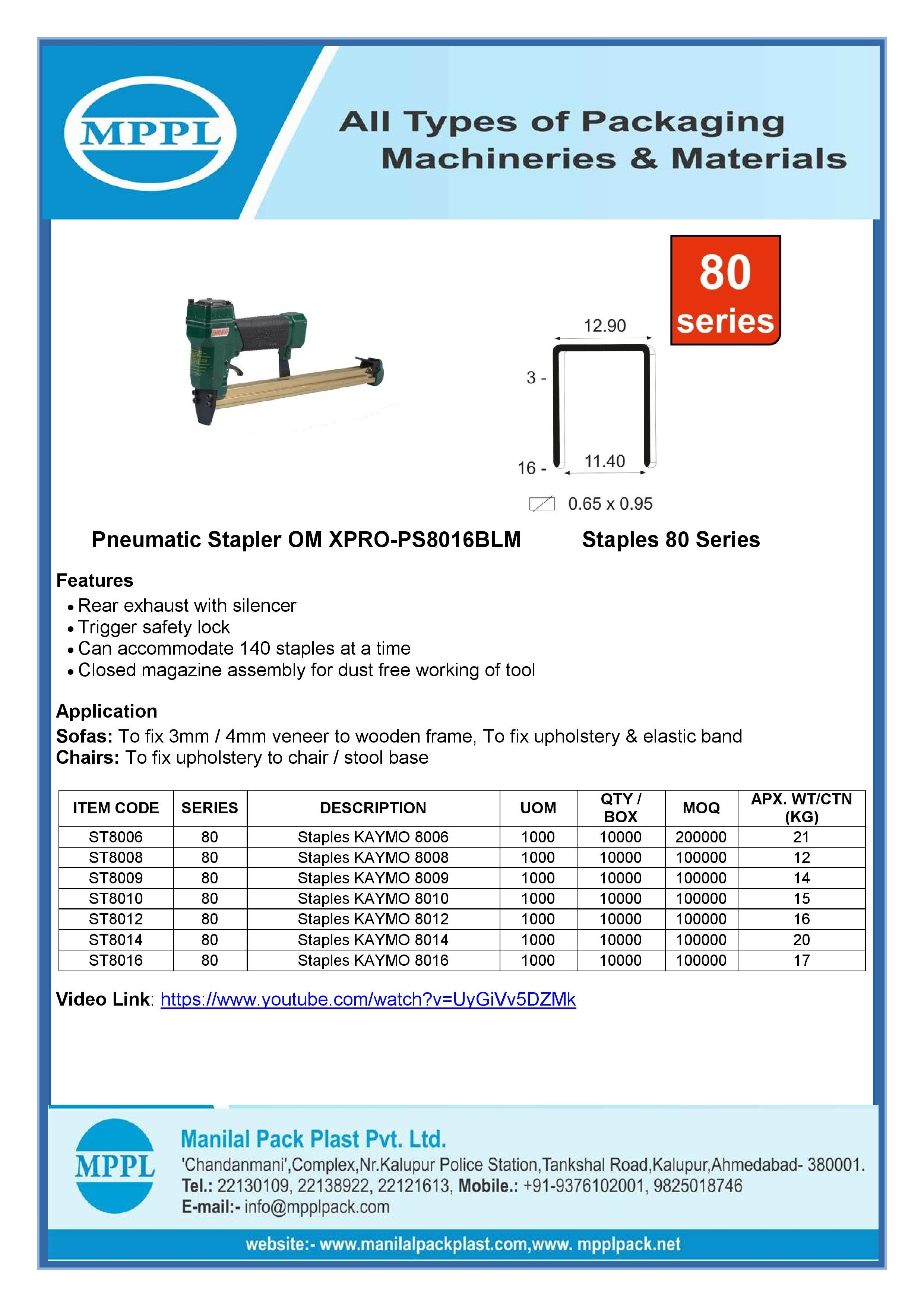 Pneumatic Stapler OM XPRO-PS8016BLM