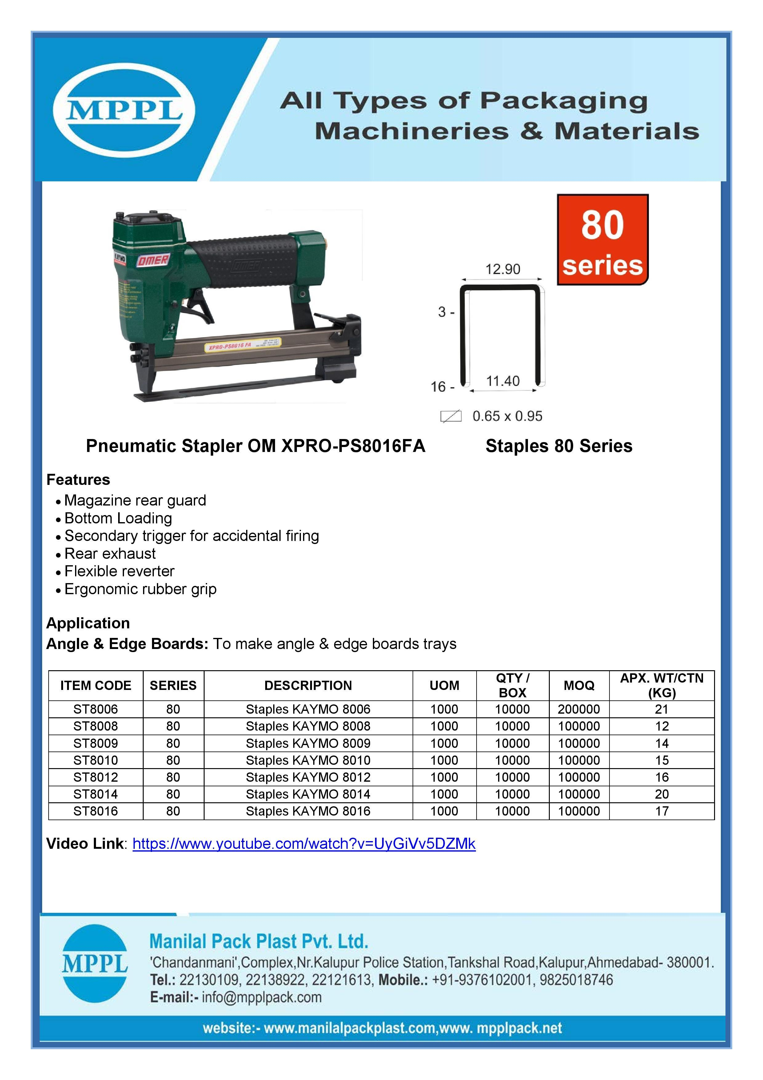 Pneumatic Stapler OM XPRO-PS8016FA