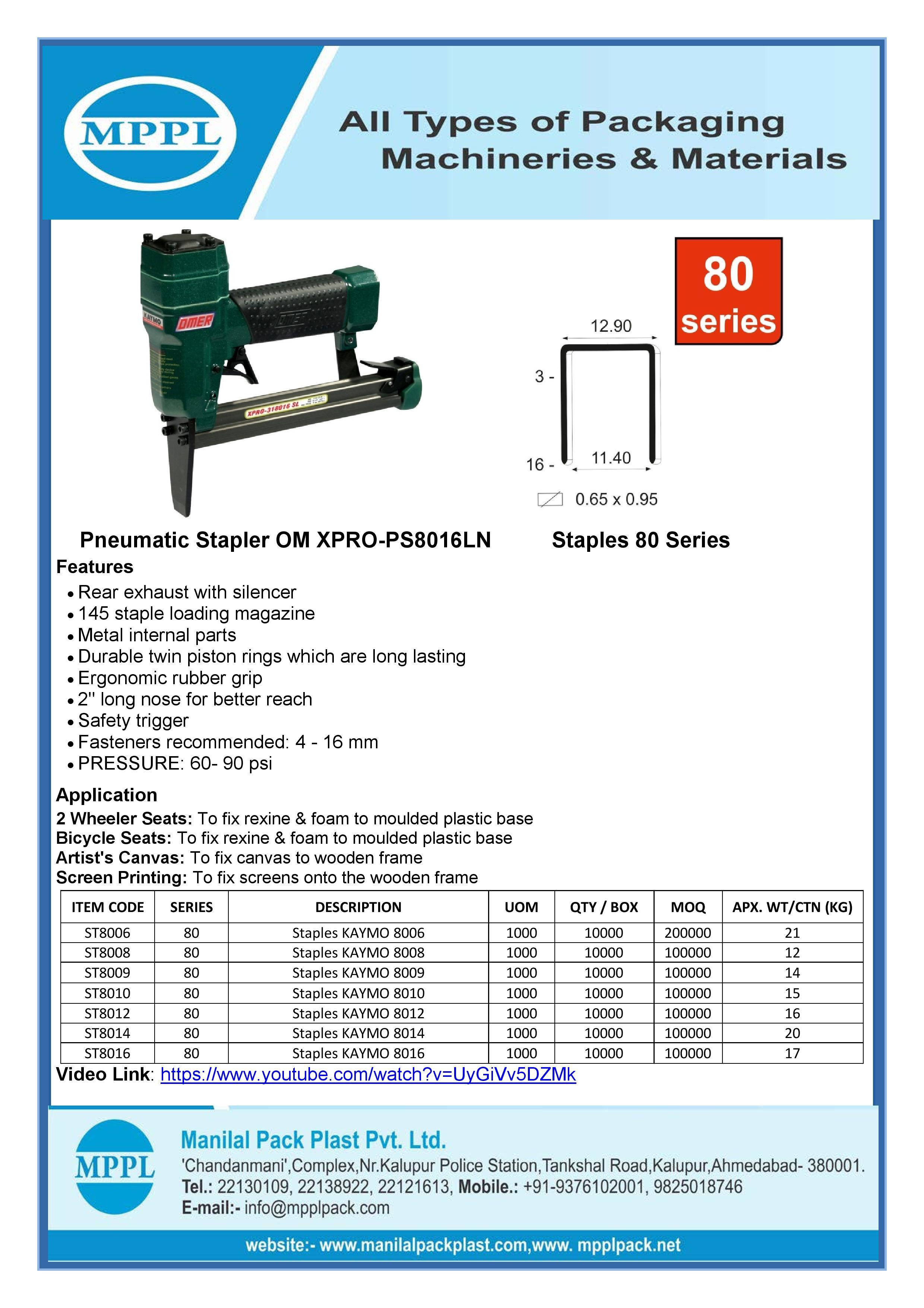 Pneumatic Stapler OM XPRO-PS8016LN