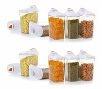 1500 Ml Easy Flow Plastic Kitchen Storage Jars & Container Set, Transparent Set Of 12