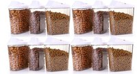 1500 Ml Easy Flow Plastic Kitchen Storage Jars & Container Set, Transparent Set Of 12