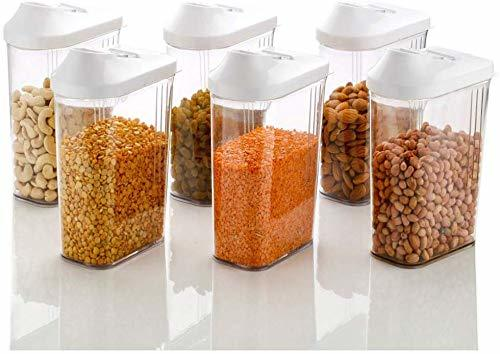 1700 ml Easy Flow Plastic Kitchen Storage Jars & Container Set, Transparent Set of 12