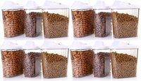 1700 ml Easy Flow Plastic Kitchen Storage Jars & Container Set, Transparent Set of 12