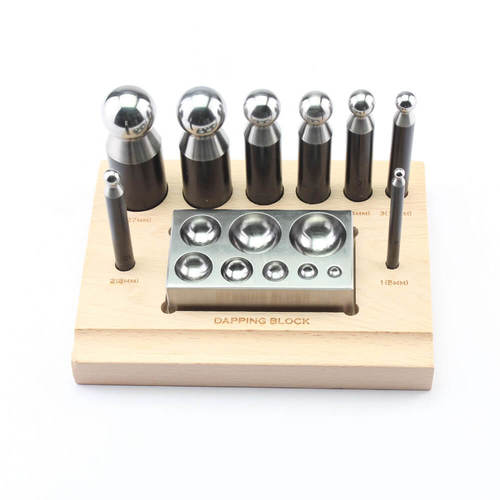 8 Cavity Dapping Block & 8 Punch Set W/Stand