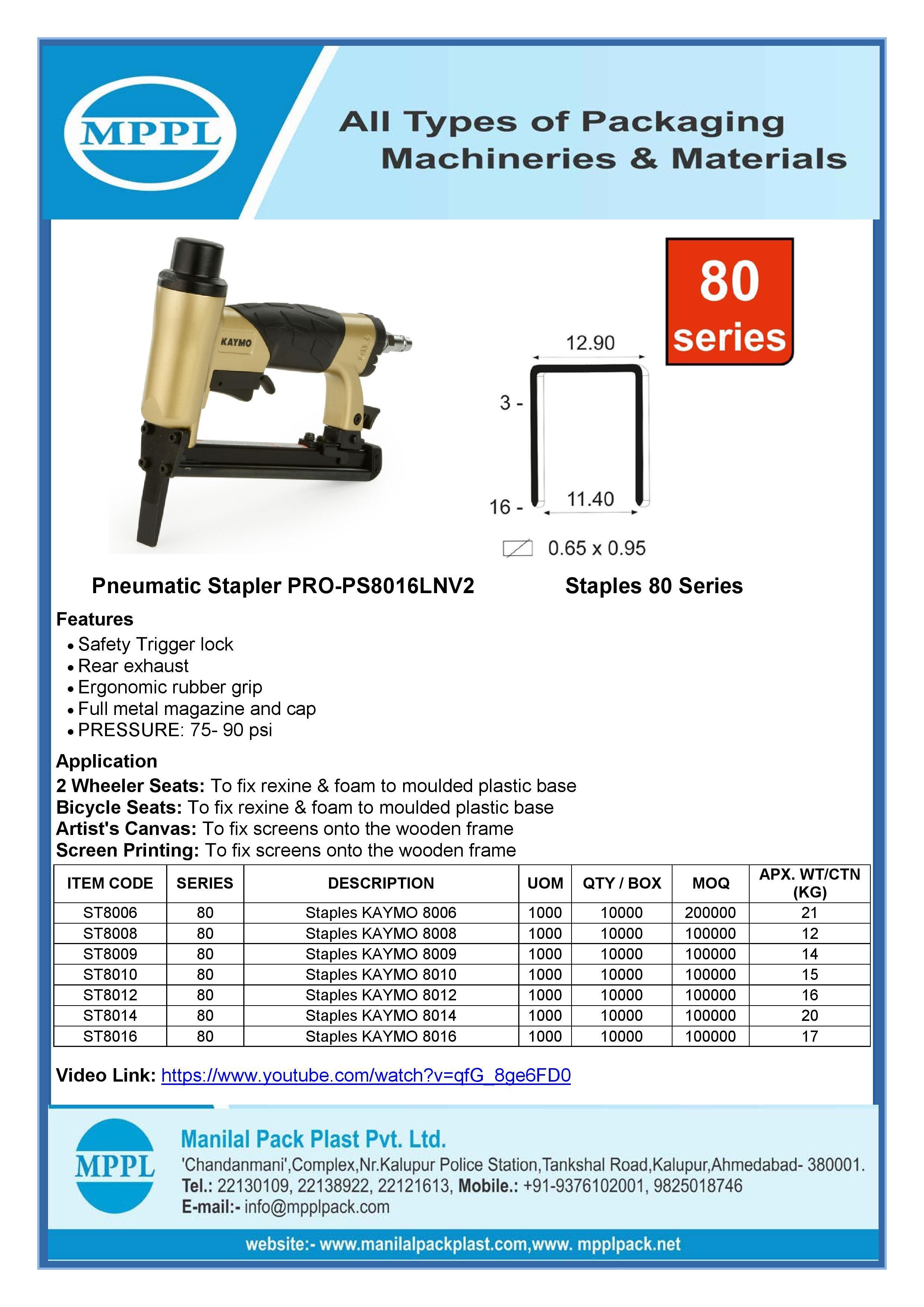Pneumatic Stapler PRO-PS8016LNV2