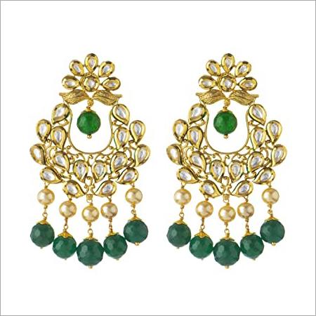 Kundan Green Traditional Gold Plated Imitation Earrings