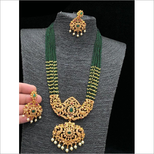 Green Beads Imitation Necklace Set