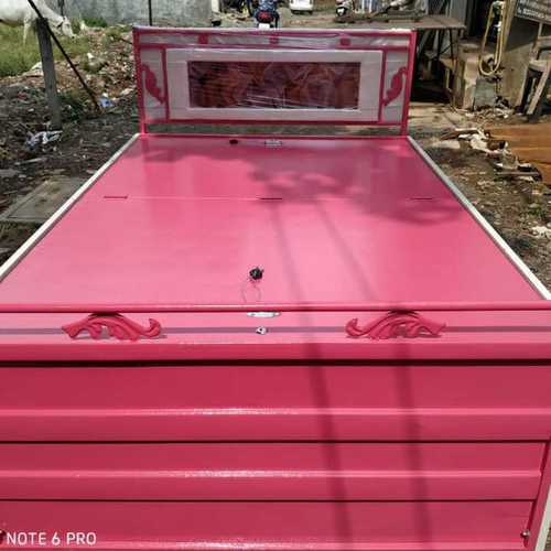Folding heavy metal bed with box and head