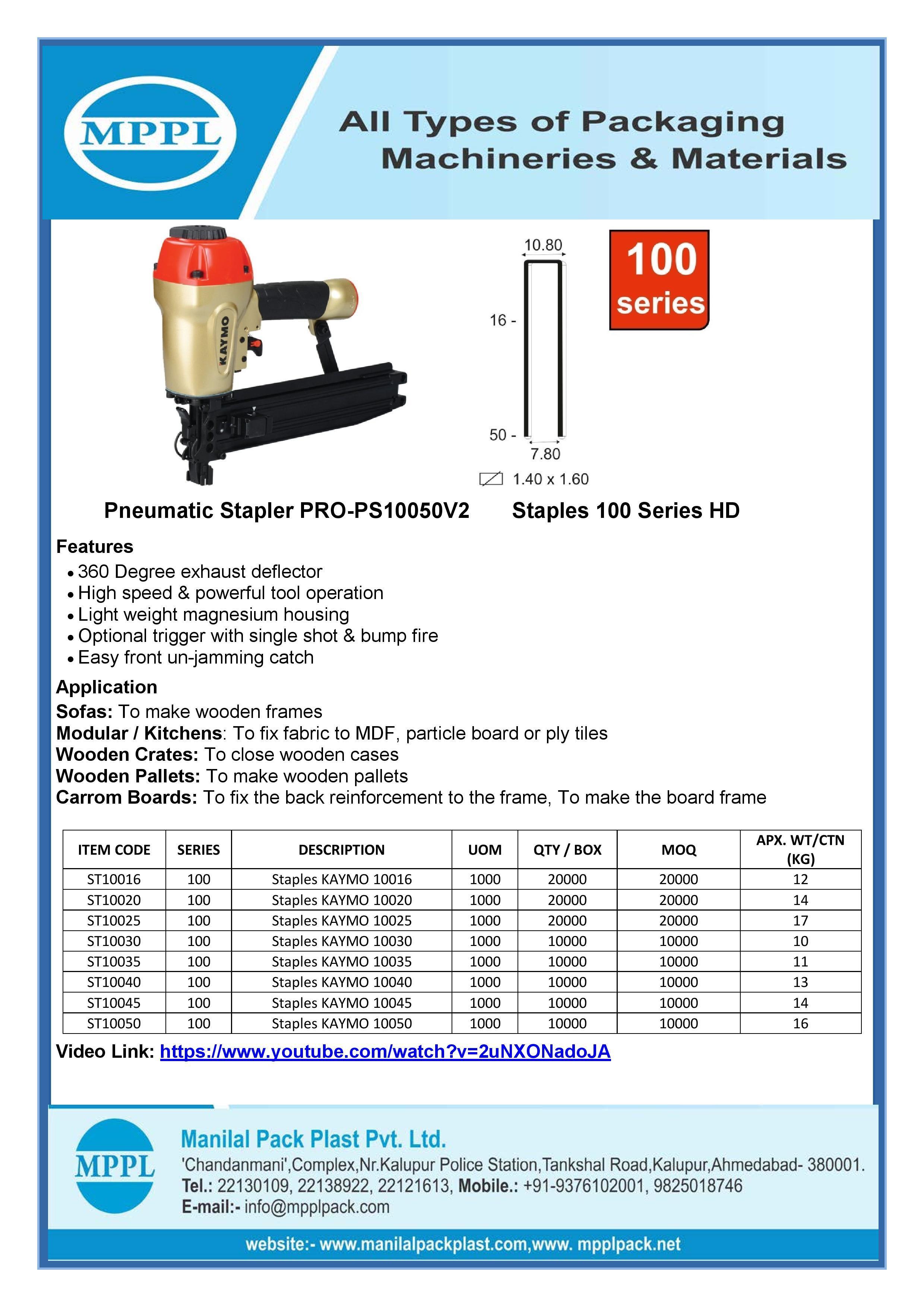 Pneumatic Stapler PRO-PS10050V2