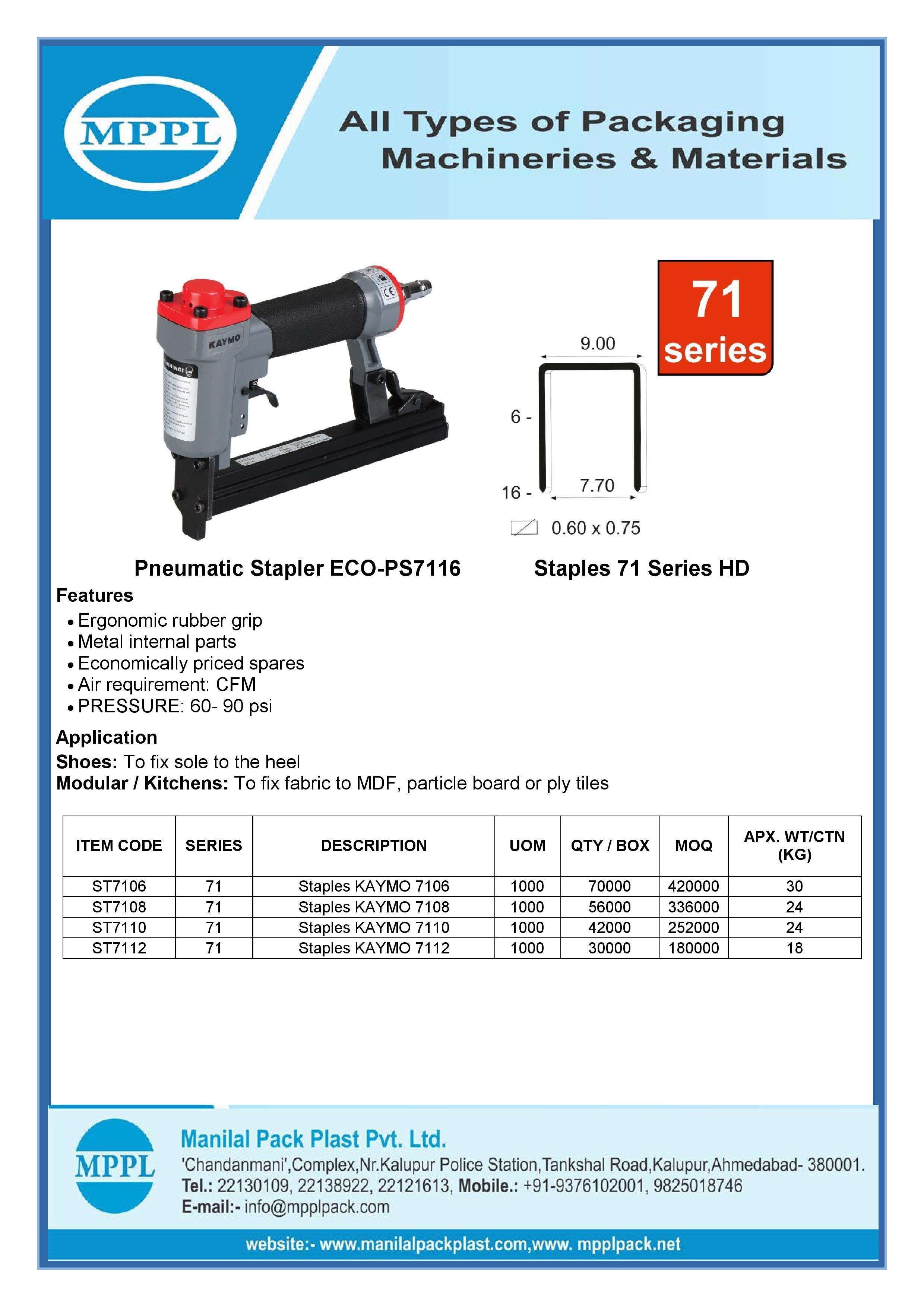 Pneumatic Stapler ECO-PS7116