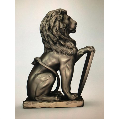 Polished Fiber Lion Sculpture