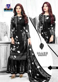 Black Beauty cotton dress material with dupatta