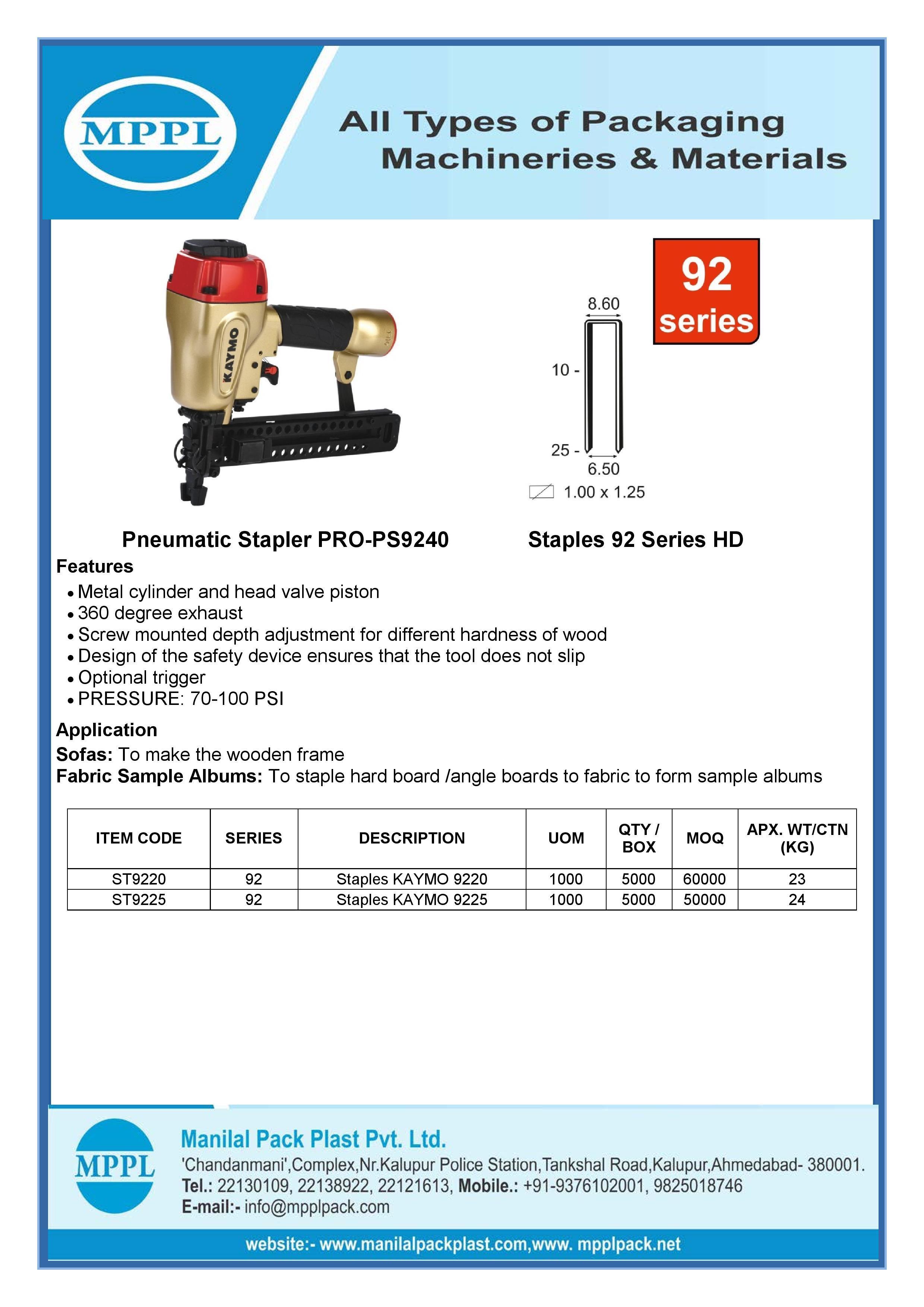 Pneumatic Stapler PRO-PS9240