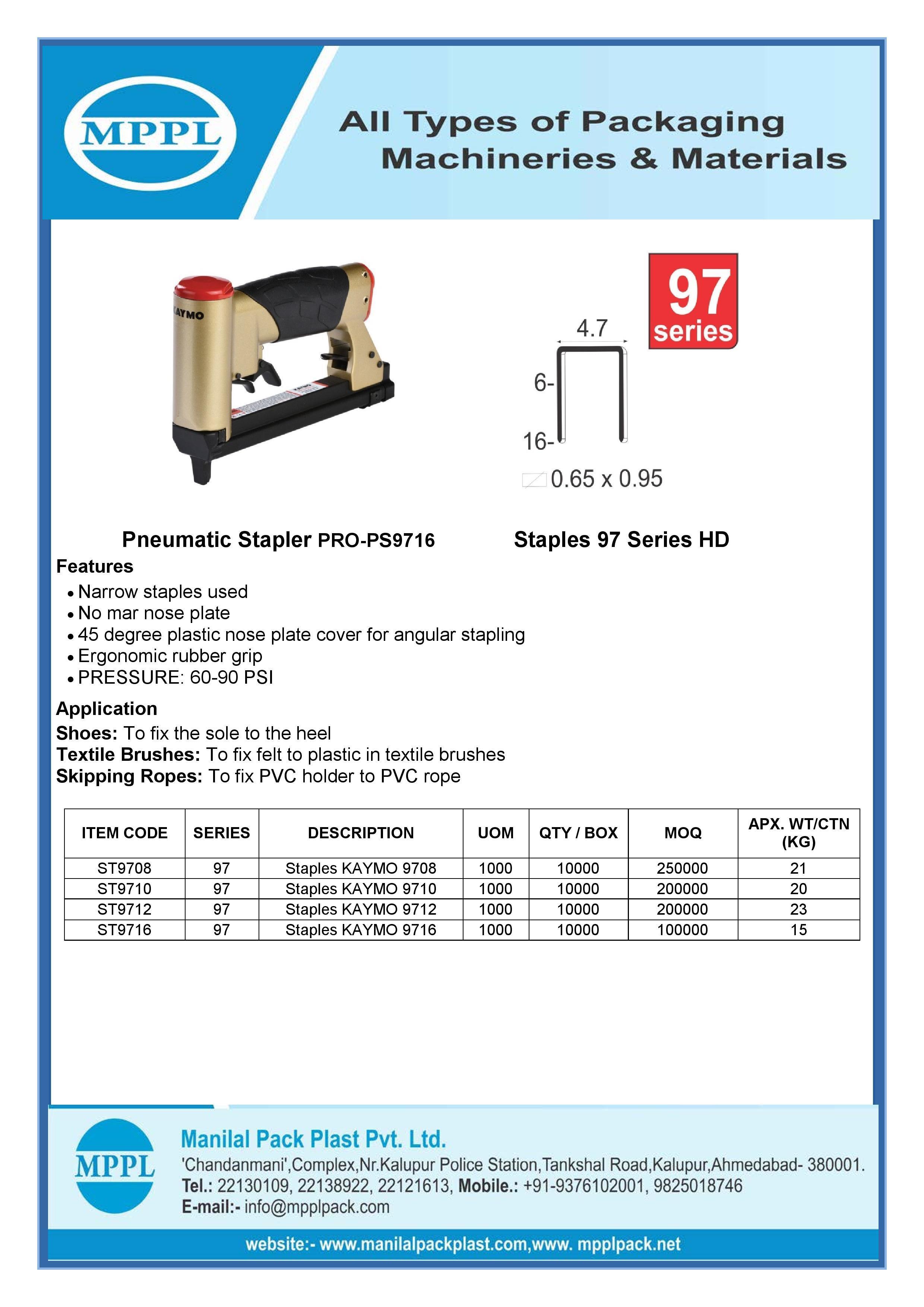 Pneumatic Stapler PRO-PS9716