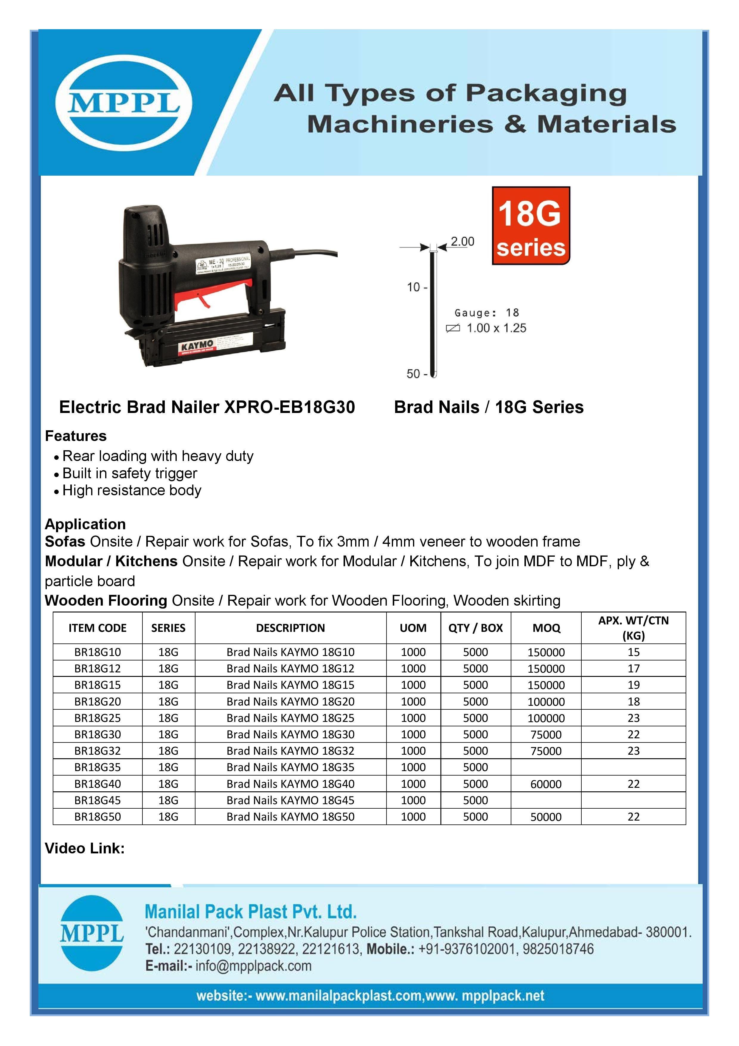 Electric Brad Nailer XPRO-EB18G30