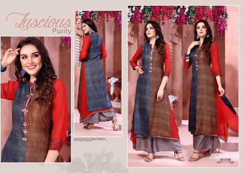 Ladies Rayon Pallazo Kurti Set