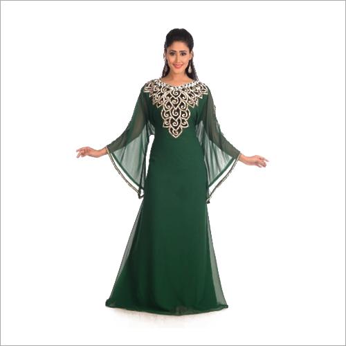 Green Stone Work Ethnic Women Arabic Elegant Kaftan